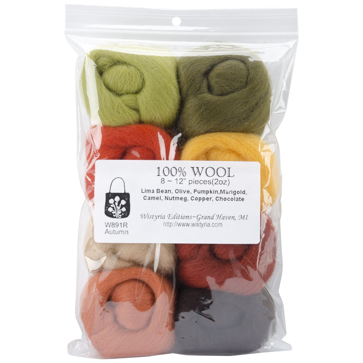 Wistyria Editions WR-854 0.25-Ounce Wool Roving, 12-Inch, Pastel, 8-Pack