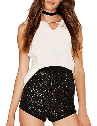 4b3a66e4 HAOYIHUI Women's Sparkly High Waist Contrast Clubwear Bodycon Shorts (S,Black)