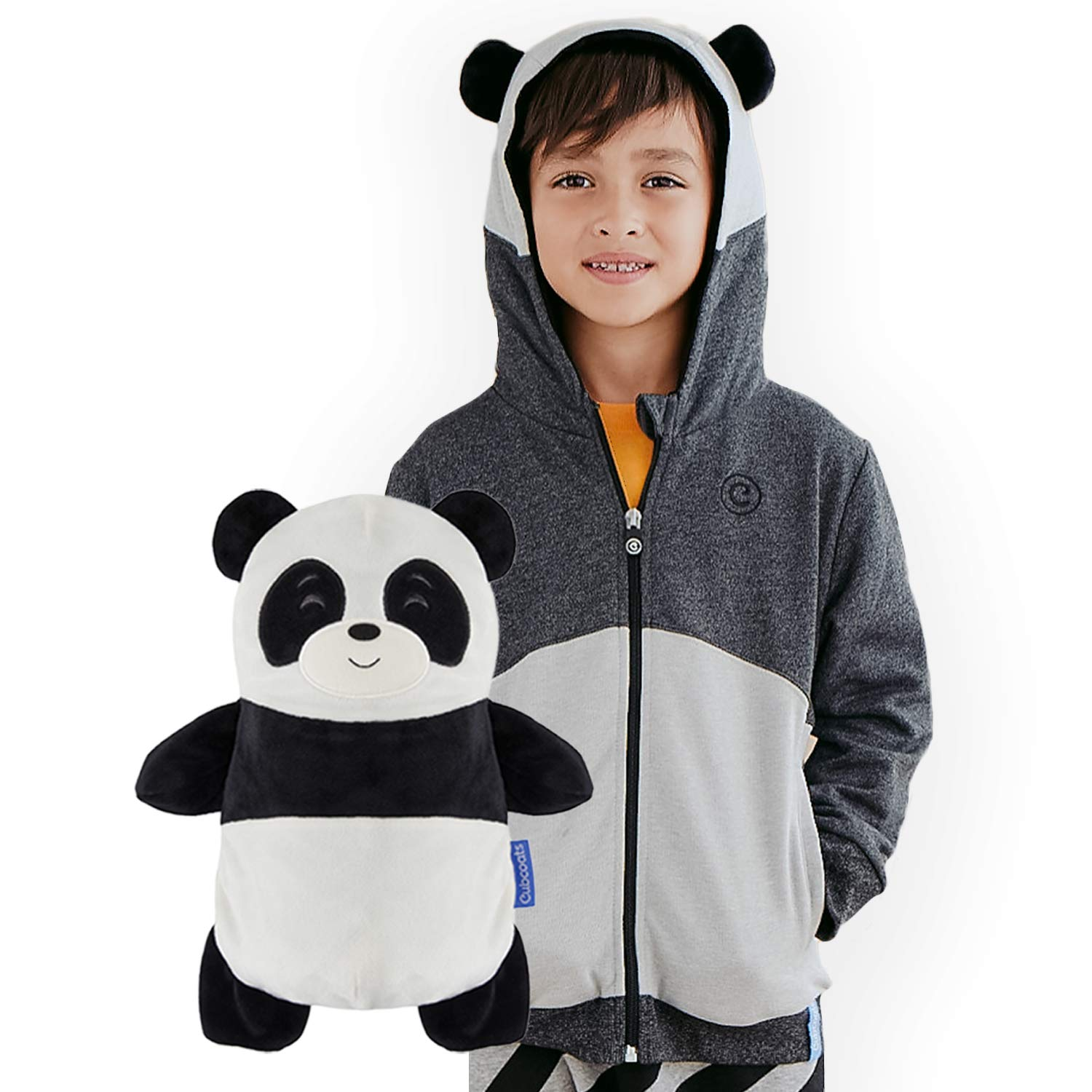 2-in-1 Transforming Hoodie /& Soft Plushie Black /& White CUBCOATS Papo The Panda
