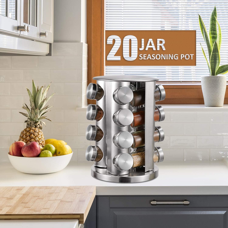 Free Standing Spice Storage Organiser for Kitchen Spice Rack,16-Jar Revolving Countertop Spice Tower,Stainless Steel Spice Organizer,Seasoning Storage Organization with 16 Empty Glass Spice Jars