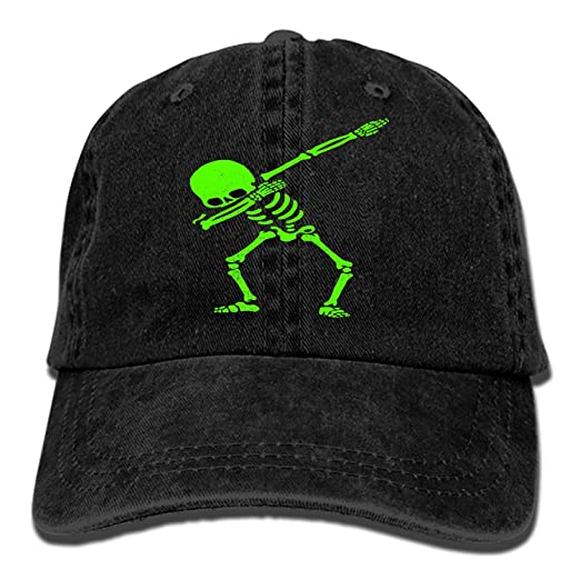 677c0a7a620 Image Unavailable. Image not available for. Color  Custom Dabbing Skeleton Green  Classic Cotton Adjustable Baseball Cap ...