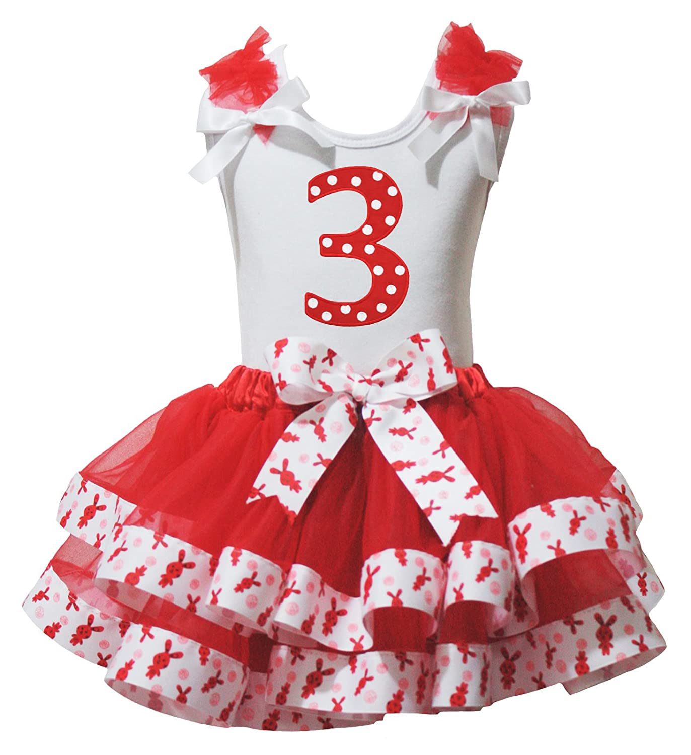 Easter Dress Polka Dots 3rd White Shirt Rabbits Ribbon Red Petal Skirt Set Nb-8y
