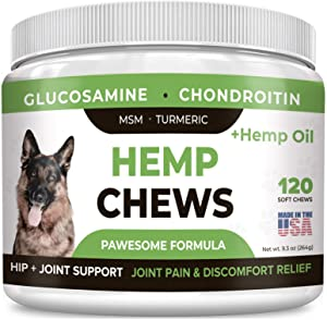 Pawesome Hemp Treats + Glucosamine for Dogs - Hip & Joint Supplement - w/Hemp Oil + Protein - Chondroitin, MSM, Turmeric to Improve Mobility & Energy - Natural Arthritis Pain Relief 120 Chews