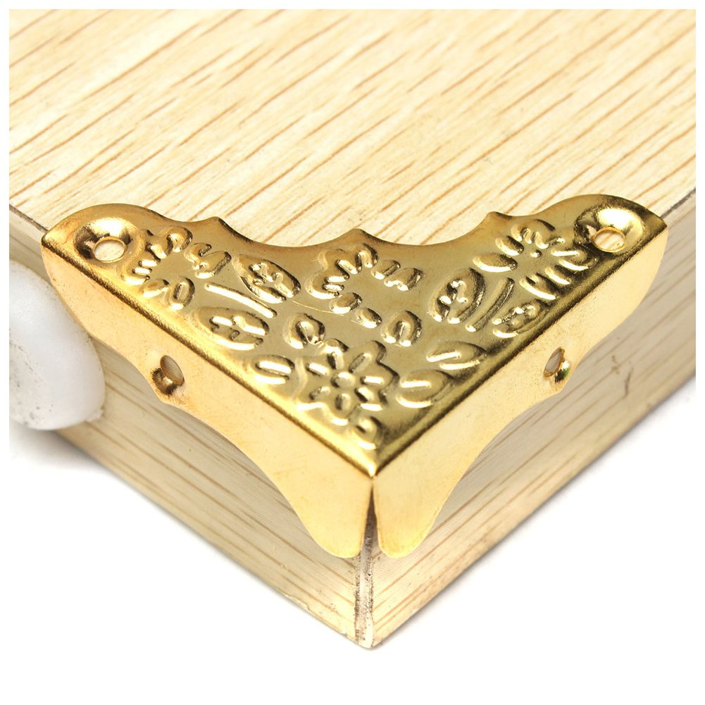 SODIAL 12 pcs Jewelry Wine Case Wooden Box Picture Frame Feet Leg Corner Protector Gold