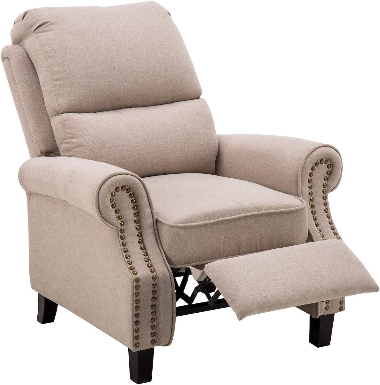 MCombo 7291BG - Sillón de relax, con reposabrazos, acolchado y núcleo de muelles, color beige