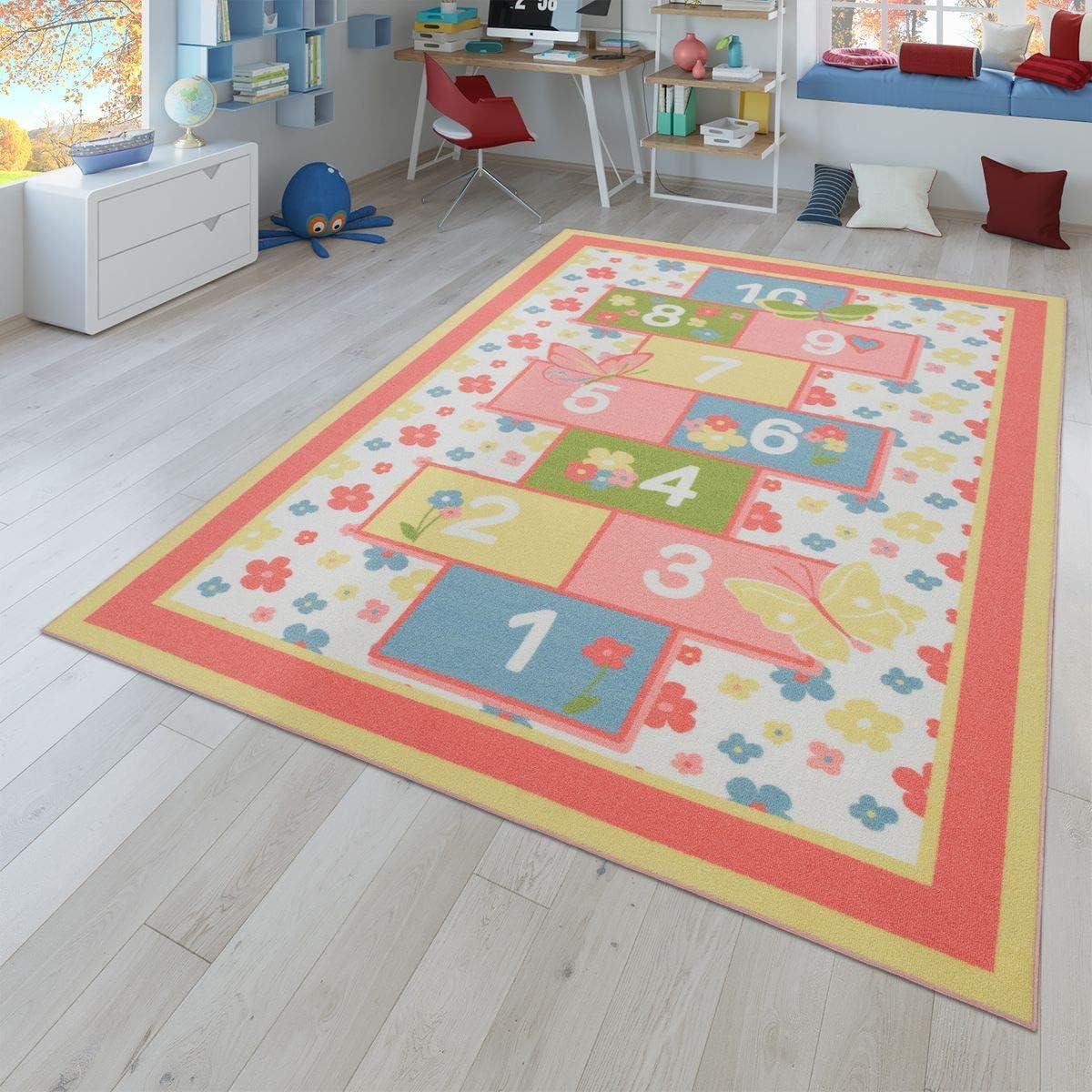 Color Rosa y Blanco 80 x 150 cm dise/ño de Corona con Texto en alem/án TT Home Alfombra para habitaci/ón Infantil Lavable