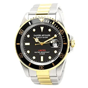 DANIEL MULLER watch Divers watch Black x Gold DM-2018TGB Men