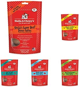 Stella & Chewy'S Freeze-Dried Raw Dinner Patties Dog Food Variety Pack Of 5 (Beef, Chicken, Duck, Lamb And Surf N' Turf), 5.5 Oz. Each