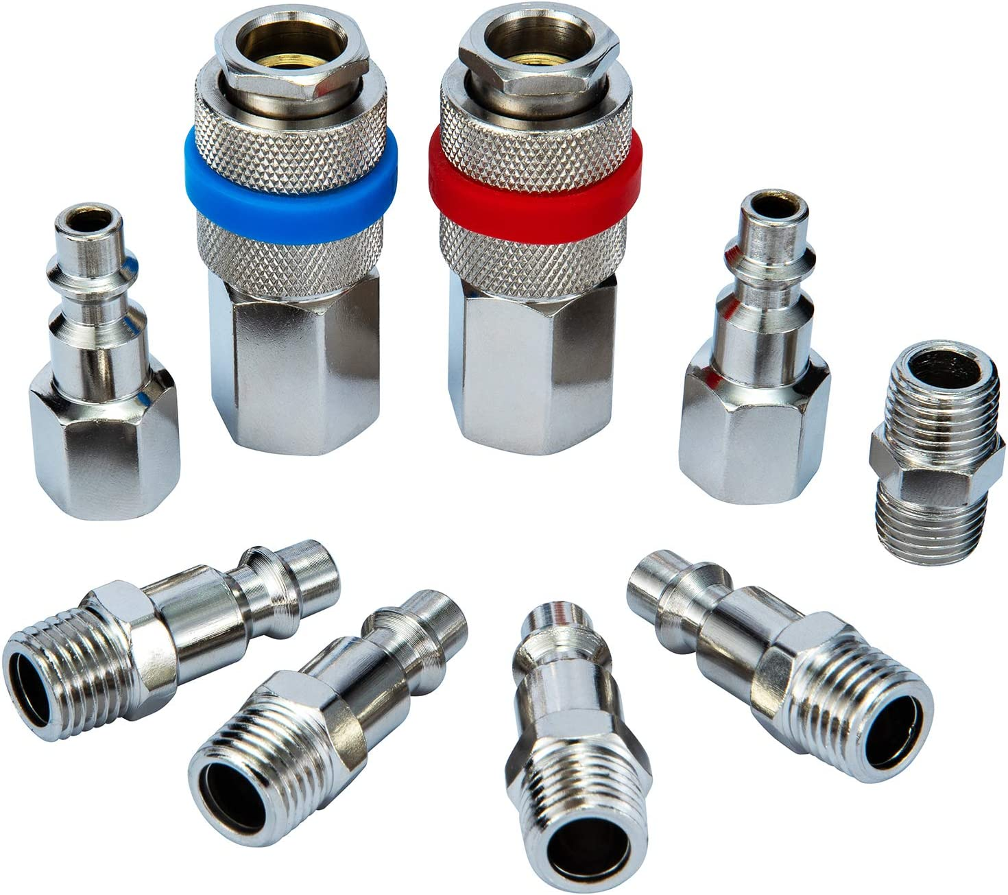 HJRbison universal air hose fittings1/4-in NPT air Coupler and Plug Kit(9 Piece), Construction of Stainless Steel, one hand operation, quick connect air hose fittings set, air hose quick connect - -