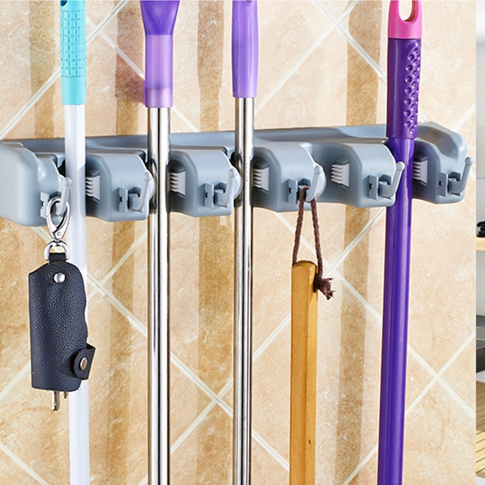 Broom and Mop Holder Garage Storage Rack Hooks Wall Mounted Organizer for Home Garden Tool Shelving (5 position 6 hooks)