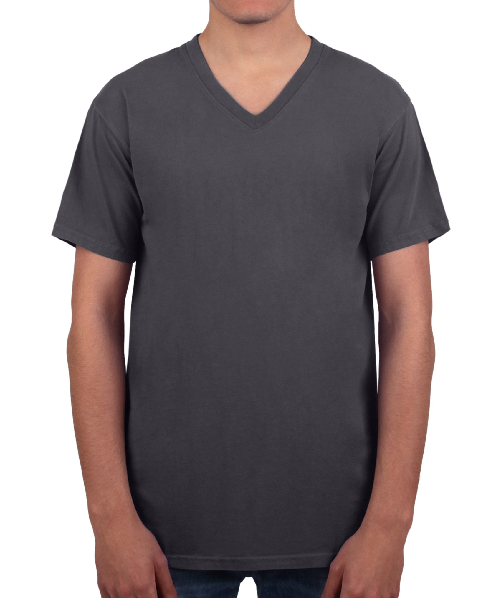 Have It Tall Men's V Neck T Shirt Premium Ringspun Cotton Made In USA ST - 2XLT Charcoal Small