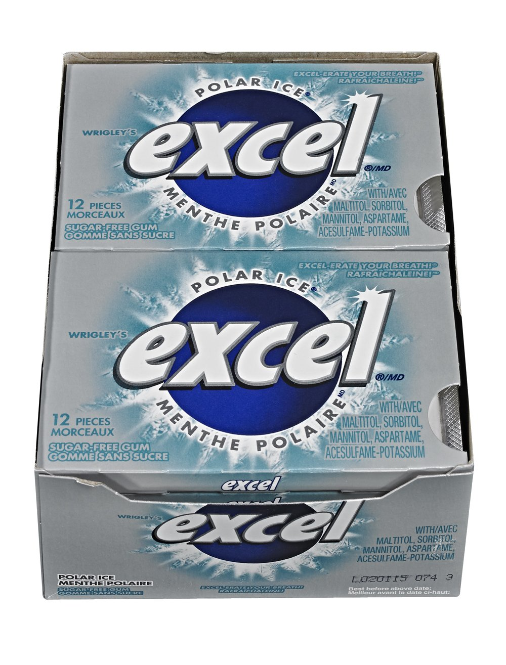 Excel Sugar-free Pellet Gum, 12ct - 12pk, Polar Ice {Imported from Canada}