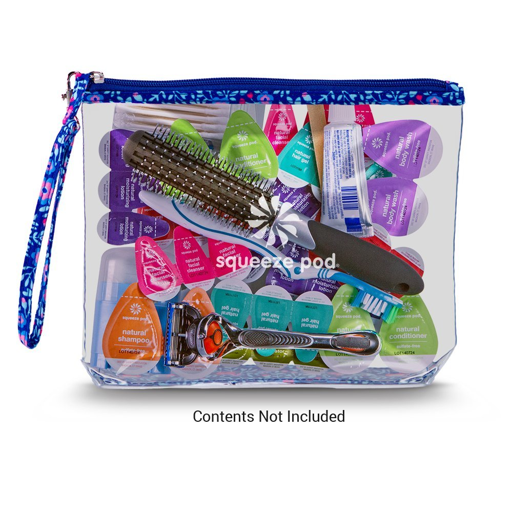 Clear Travel Bag with Heavy Duty Transparent Plastic Pouch Stands Up for Easy Loading Beach Zipper /& Carry Strap Water Resistant Great for Day Trips Pool or Sporting Events Flower Trim CTBMSF