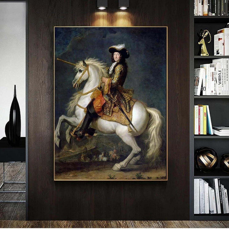 HHGGF Rey francés Luis XV con Retrato de Caballo Pintura al óleo sobre Lienzo, Carteles e Impresiones, Cuadro artístico de Pared para Sala de Estar (19.69x27.56 in) 50x70 cm sin Marco