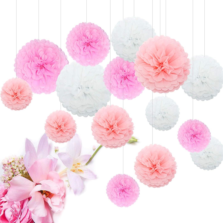 Feelshion 15pcs Tissue Paper Flower Ball Pom-poms for Party Wedding Christmas Xmas Decoration Bridal Shower Decor
