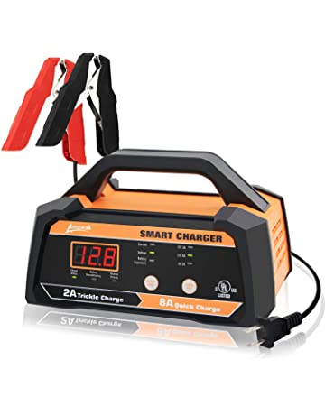 ampeak 6v 12v smart car battery charger and maintainer 2a 8a fully  automatic with cable clamps