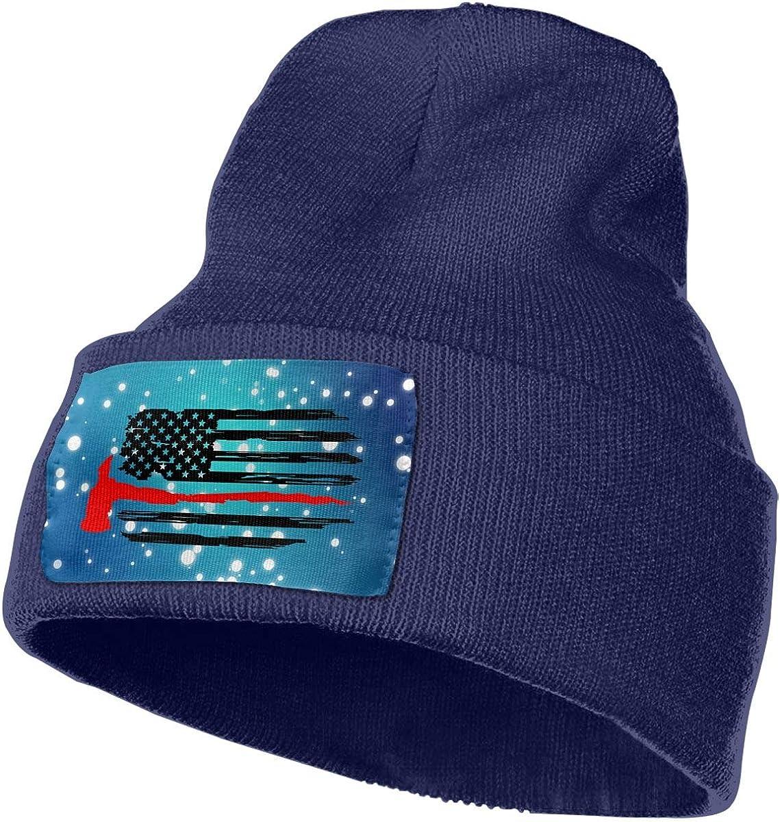 Firefighter Thin Red Line American Flag Winter Beanie Hat Knit Skull Cap for for Men /& Women