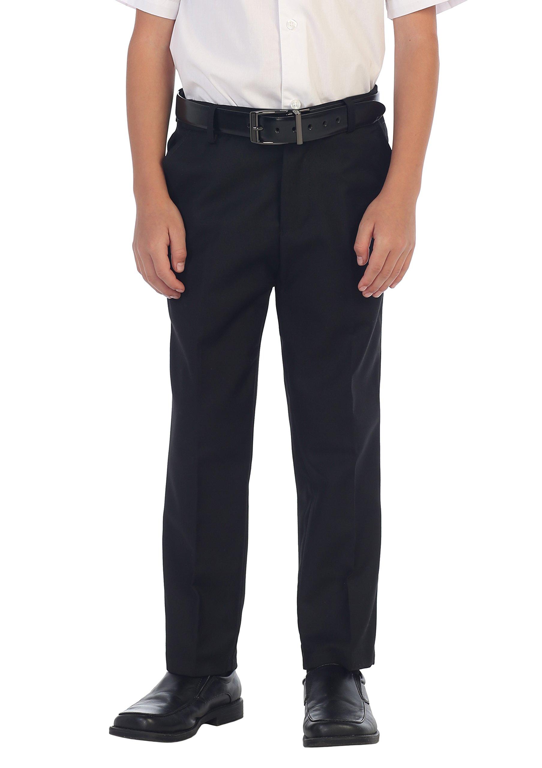 Gioberti Boys Flat Front Dress Pants, Black, 12