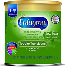 Enfagrow Toddler Transitions Soy Formula Powder, 20 Ounce Can, Pack of 4