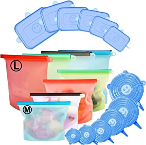 20 Pack Silicone Food Storage Bag & Silicone Stretch Lids, Eco-Friendly Reusable Food Wraps and Covers, Airtight Seal Food Preservation Bags for Vegetable, Fruit, Snack, Lunch