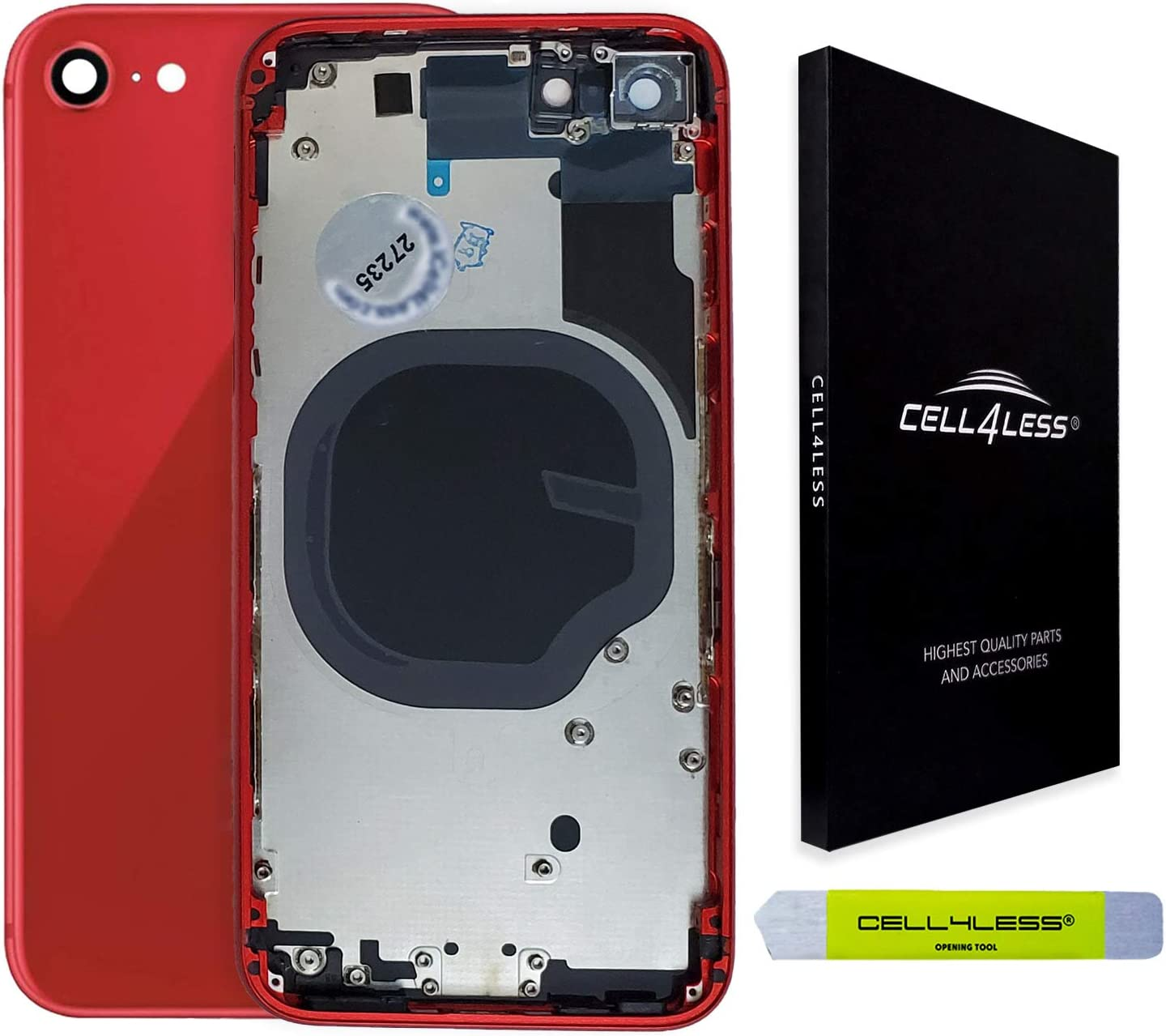 CELL4LESS Back Housing Assembly Metal Frame w/Back Glass - Wireless Charging pad - Sim Card Tray and Camera Frame and Lens for The iPhone 8 (Red)