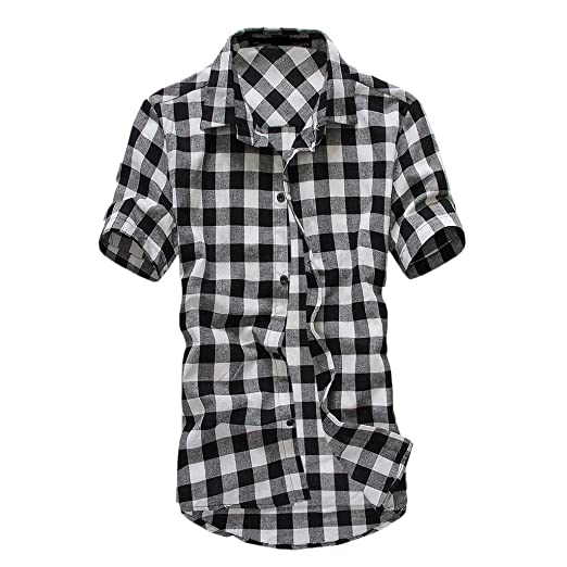 920b2463461fb3 Men's Short Sleeve Plaid Shirts,Button Down Turn-Down Collar Casual Work  Top Blouse