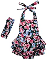 Messy Code Baby Girl Romper Vintage Floral Bubble Outfit Baby Bodysuit with Headband