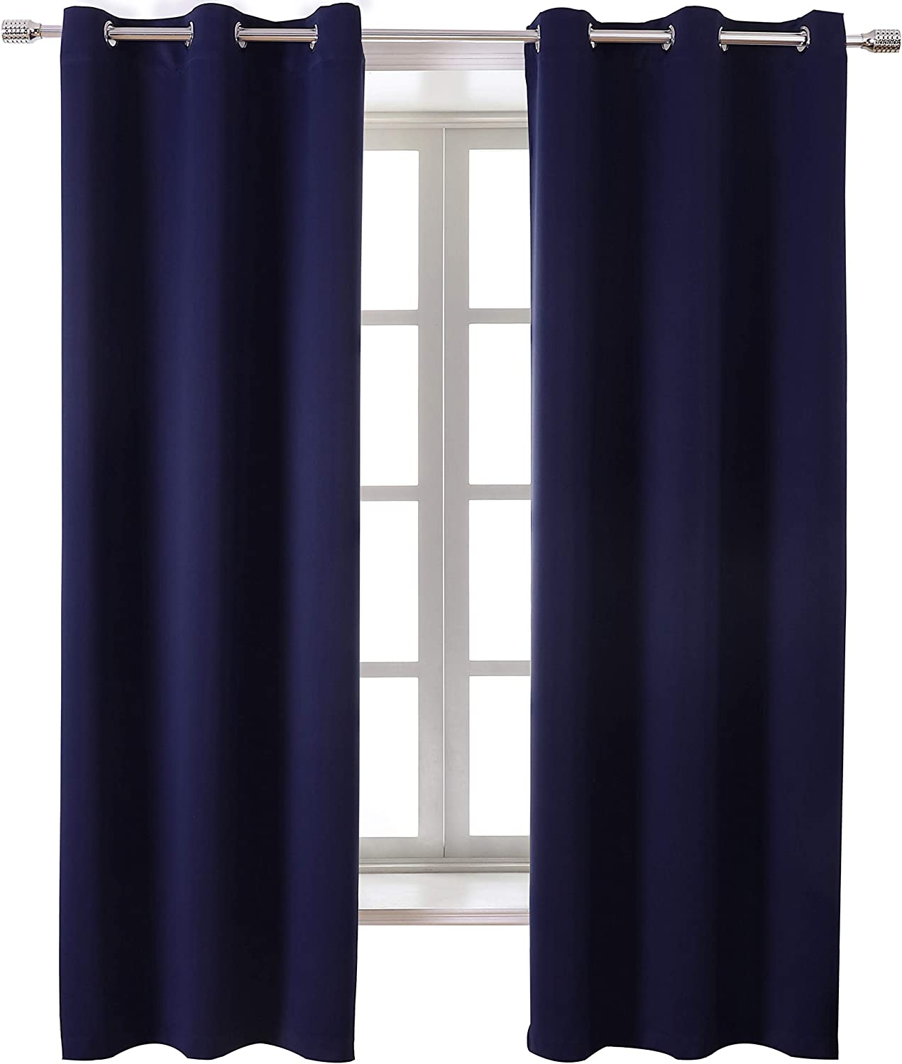 WONTEX Blackout Curtains Room Darkening Thermal Insulated with Grommet Window Curtain for Bedroom, 42 x 84 inch, Navy, 2 Panels