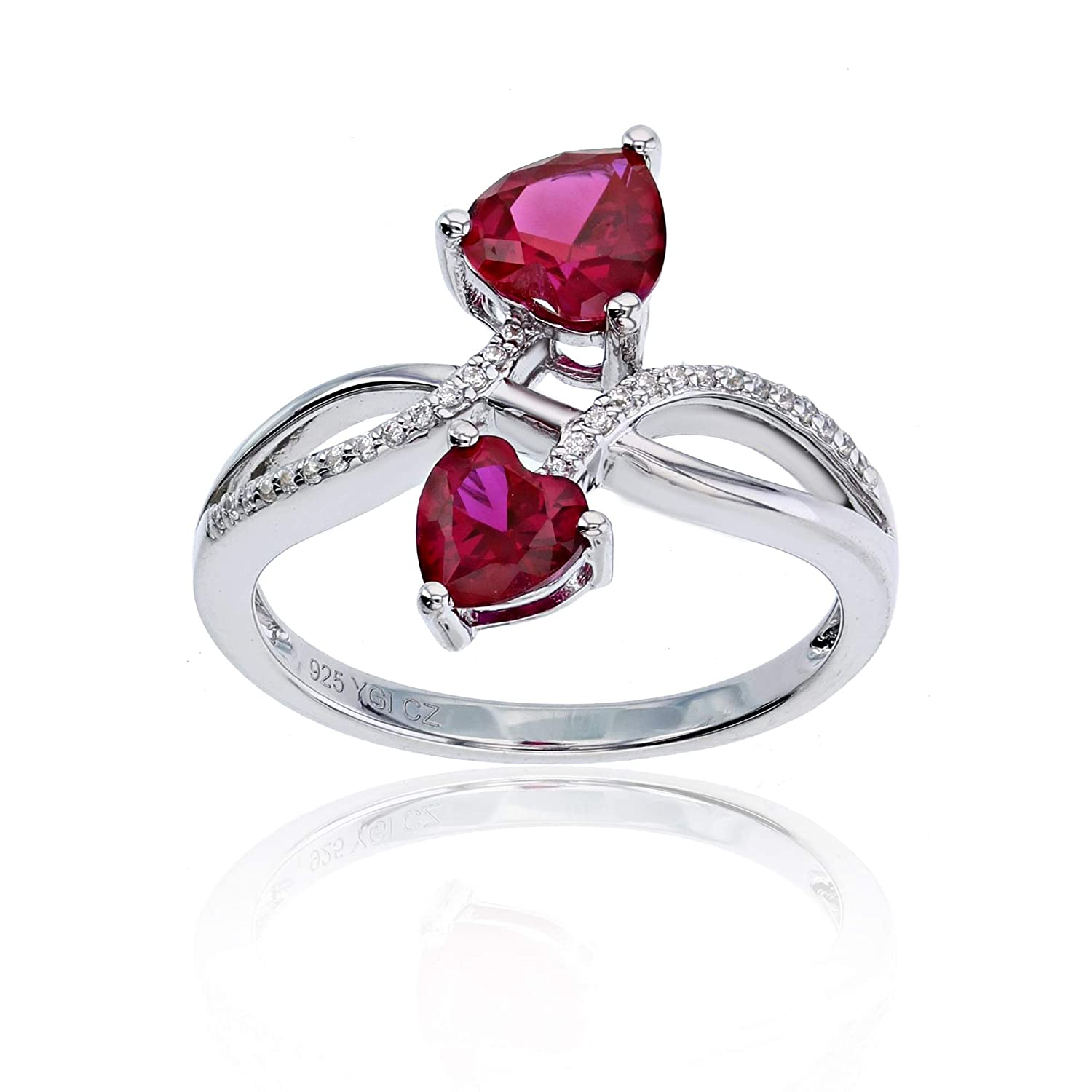 Sterling Silver Rhodium 0.06 CTTW Diamond /& Heart Created Ruby 2 Bypass Ring