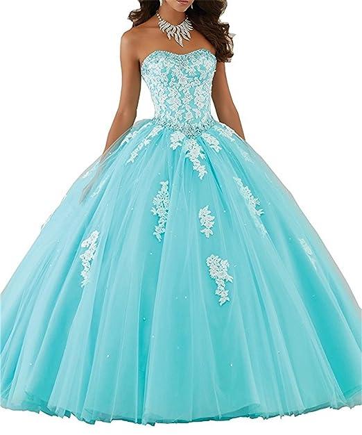 XUYUDITA Mujeres Lace piso de longitud vestido de baile Quinceanera vestido vestido de fiesta Tul Agua
