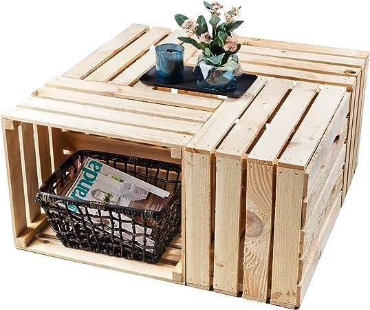GrandBox Set de 4 Natural-Box Caja de Madera flameada, Caja de Vino, Caja de Frutas, Caja Decorativa,Vintage Shabby Chic Retro, Caja de leéa: Amazon.es: Hogar