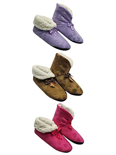 8a2a397dfa4 Image Unavailable. Image not available for. Color  Pink Purple   Brown  Hearts Plush Fleece Lined Slippers 3 Pack