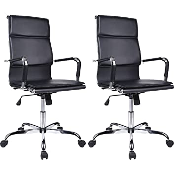Ribbed Office Chair Blacku2013Adjustable High Back PU Leather Swivel Tall Executive  Conference Chairs