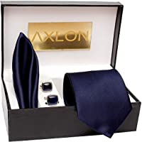 AXLON Men's Cotton Silk Necktie, Pocket Square, Cufflink (Dark Blue, Free Size)