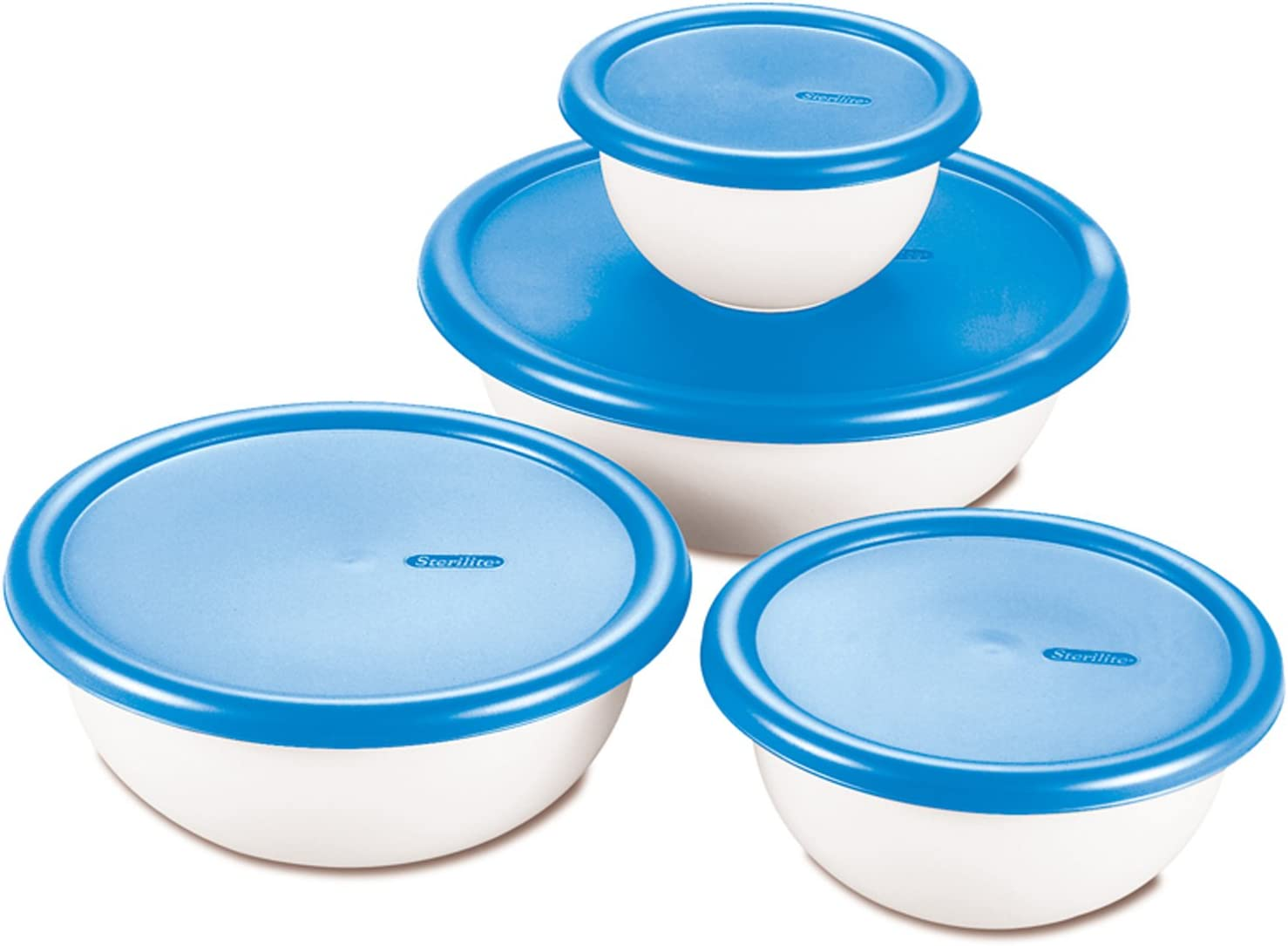 Sterilite 8 Piece Covered Set Bowl, Multisize, White & Blue: Kitchen & Dining