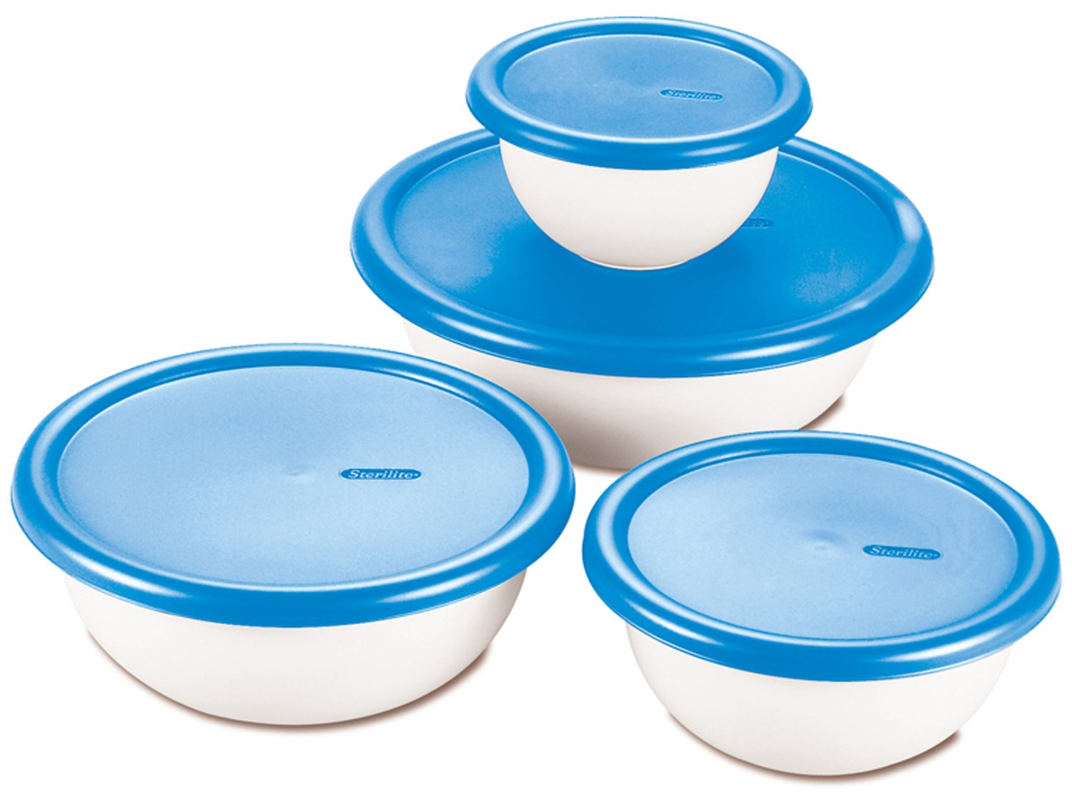 STERILITE 07479406 8 Piece Covered Bowl Set, White & Blue, 1-Pack