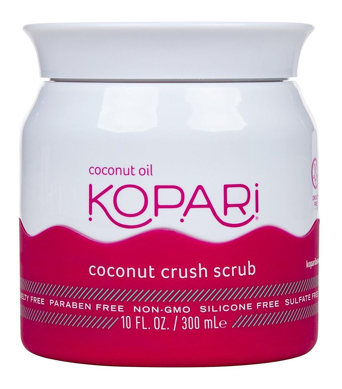 Kopari Coconut Crush Scrub - Brown Sugar Scrub to Exfoliate, Shrink the Appearance of Pores, Help Undo Dark & Age Spots + More With 100% Organic Coconut Oil, Non GMO, and Cruelty Free 10 Oz