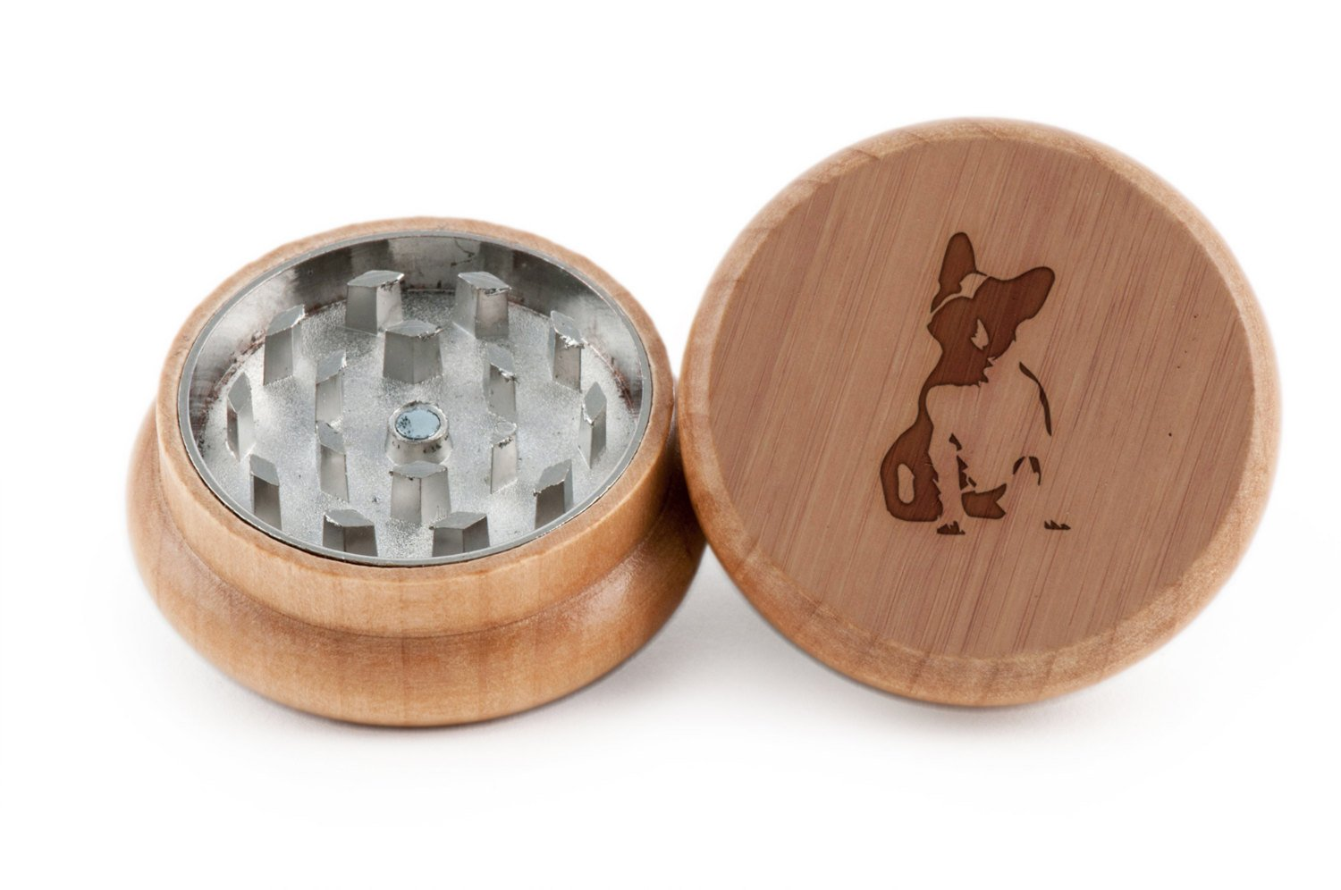GRINDCANDY Spice And Herb Grinder - Laser Etched French Bulldog Design - Manual Oak Pepper Grinder