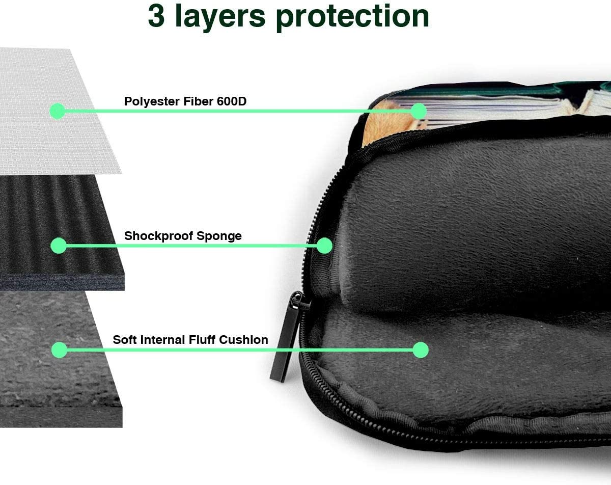 Cat Reading Book Functional Laptop Sleeve Case with Handle Fits 13-15.6in Laptop for College NEPower Laptop Tote Bag