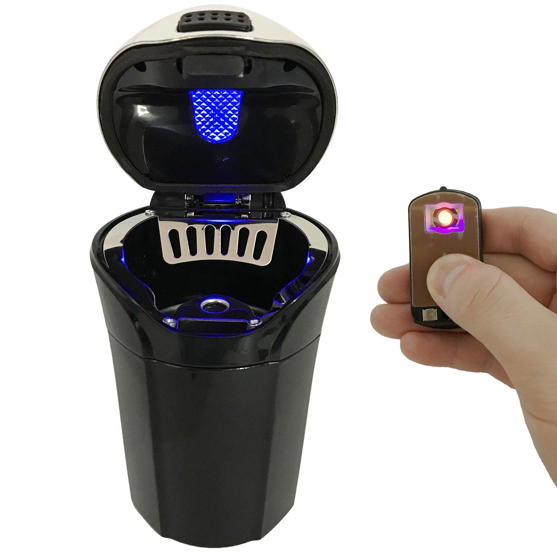 iMinker Posacenere per auto Portatile estraibile, posacenere per accendisigari auto con coperchio, luce led blu e accendino estraibile per la maggior parte dei portabicchieri (Argento)