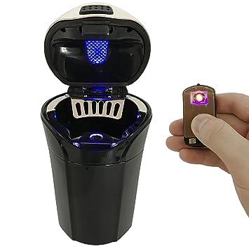 blaue LED Licht und abnehmbare Feuerzeug f/ür die meisten Auto Cup Holder Auto Zigarette Feuerzeug Aschenbecher Set mit Deckel iMinker Auto Aschenbecher Tragbar abnehmbare Rot