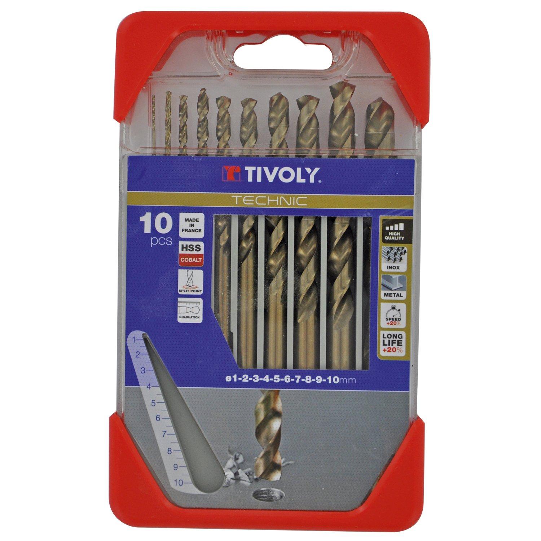 Tivoly 11468570001 Coffret de Forets Metal Cobalt Technic Gradué s, Bronze, Set de 10 Piè ces Set de 10 Pièces