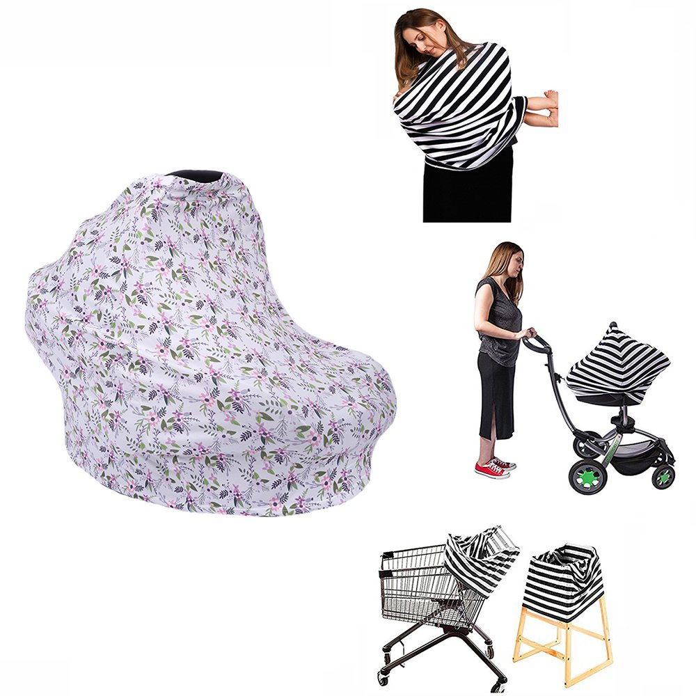 SHELLBOBO Ultrasoft Multi-Use Stretchy Baby Car Seat Canopy | Nursing Cover | High Chair Cover | Shopping Cart Cover | Infinity Scarf with Bonus Matching Pouch (D)