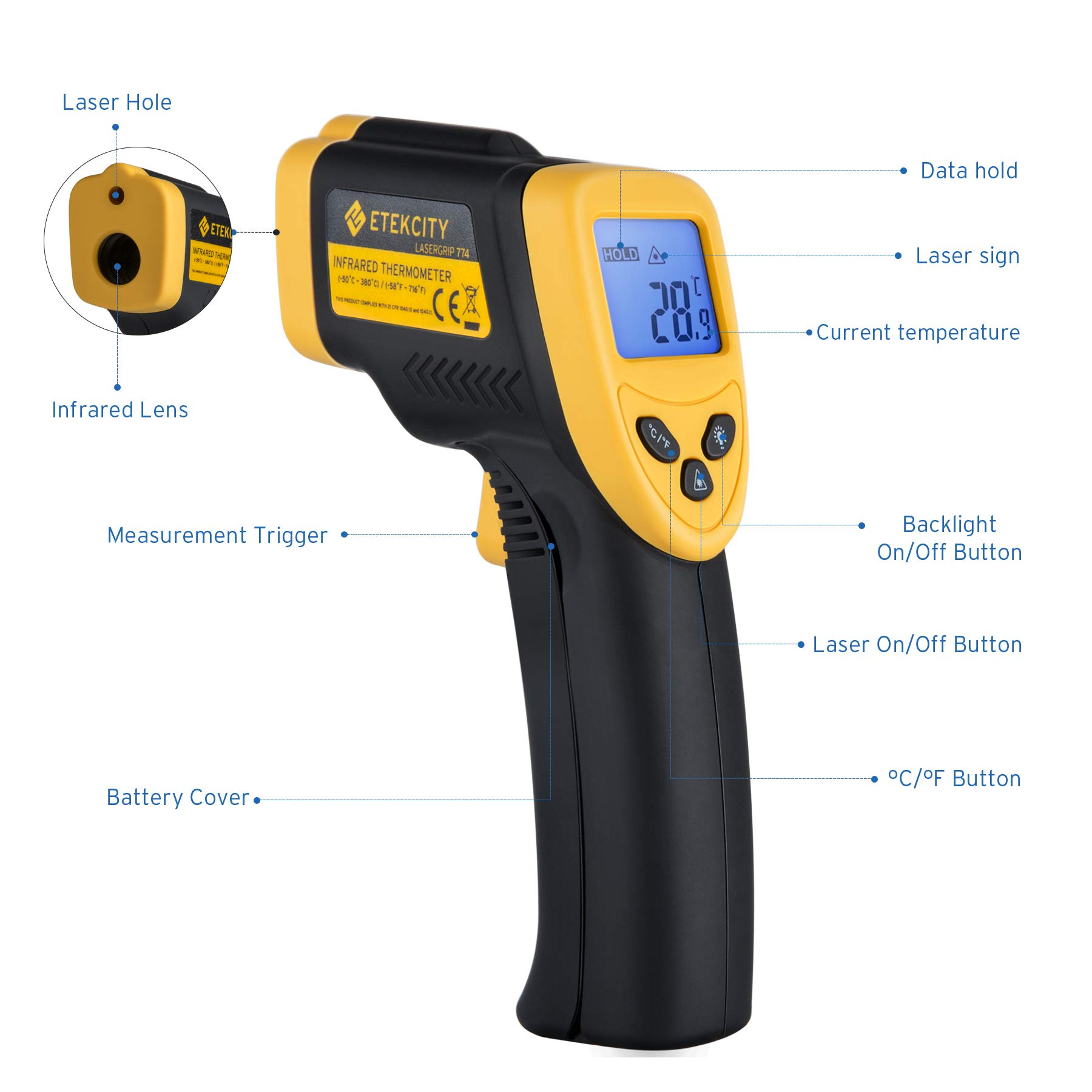 Etekcity Lasergrip 774 Non-contact Digital Laser Infrared Thermometer Temperature Gun -58℉~ 716℉ (-50℃ ~ 380℃), Yellow and Black by Etekcity (Image #1)