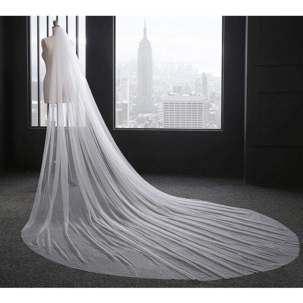LLLucky 3M Velo da Sposa per Capelli Lungo 1 Strati Abito da Sposa in Tulle Veli Accessori da Sposa per Donna Bianco
