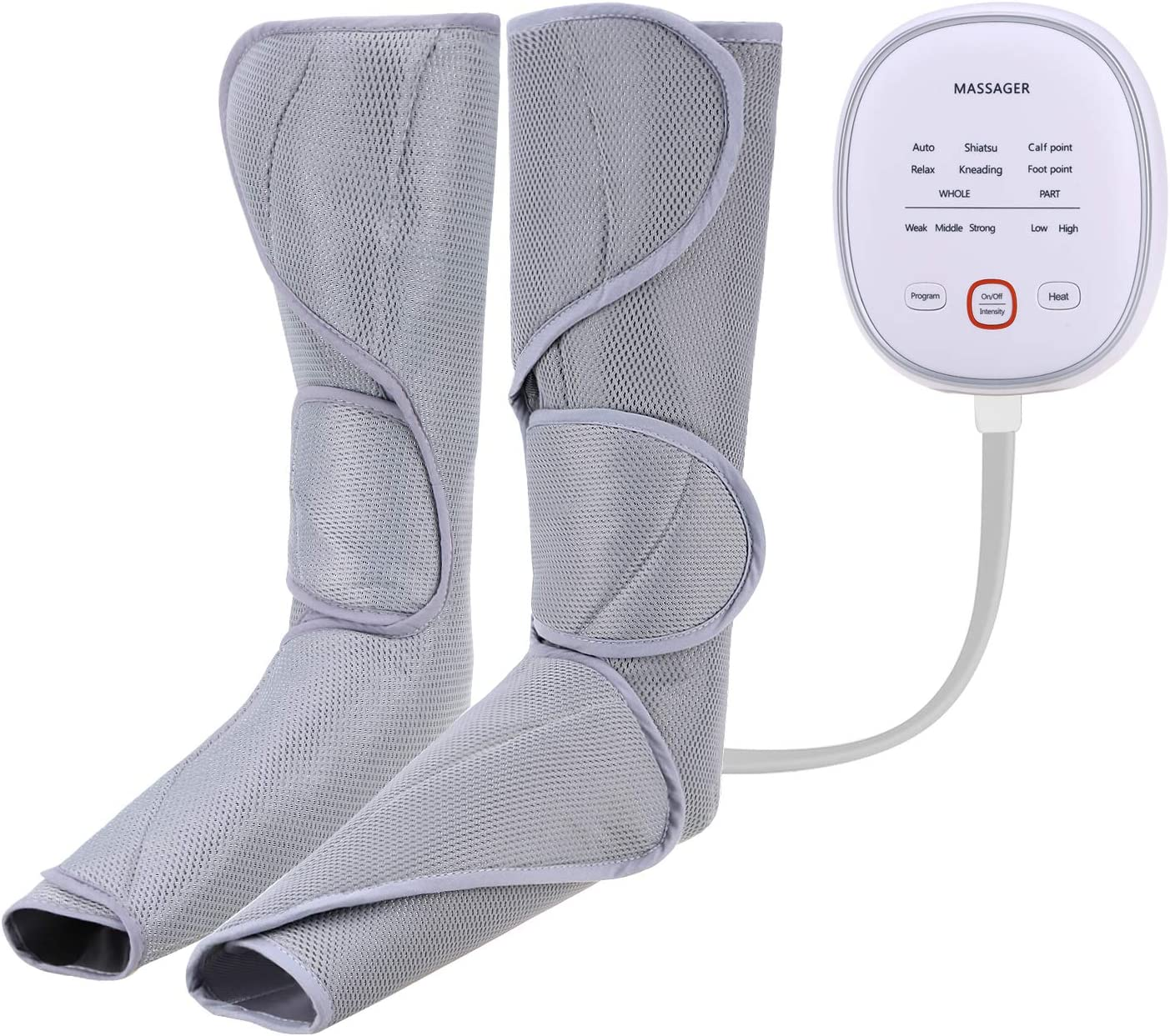 KESITIS Heated Leg Massager Air Compression for Foot and Calf Circulation Massage with Handheld Controller 3 Intensities 2 Modes 2 Temperatures with 2 Extensions