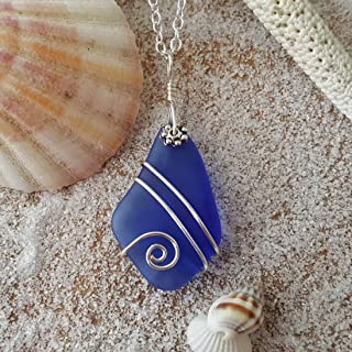 product image for Handmade sea glass jewelry from Hawaii, wire wrapped cobalt blue sea glass necklace, (Hawaii Gift Wrapped, Customizable Gift Message)
