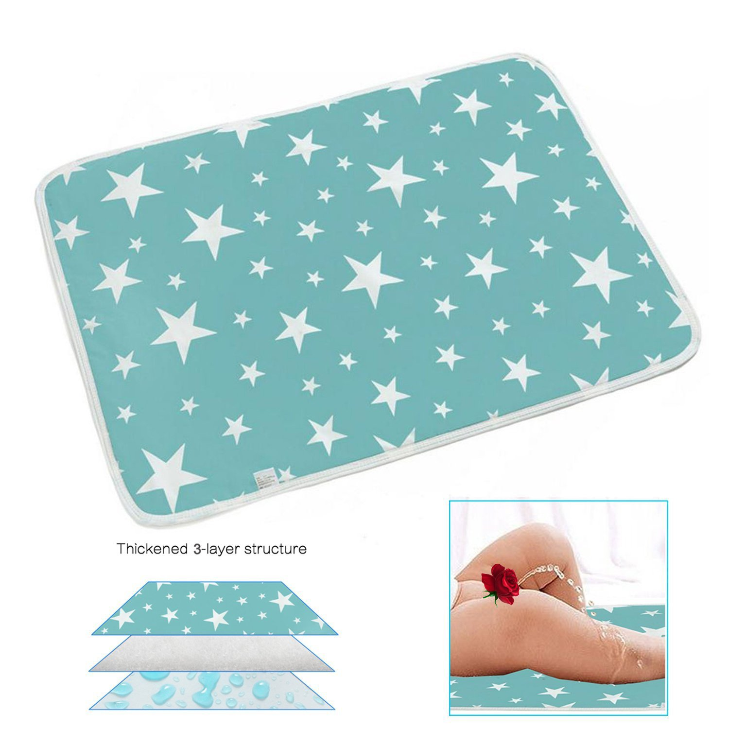 Changing Pad - Biggest Portable Changing Mat to Change Diaper (20x28) Waterproof Sheet for Any Places for Home Travel Bed Play Stroller Crib Car - Mattress Pad Cover for Boys and Girls Yiwalab