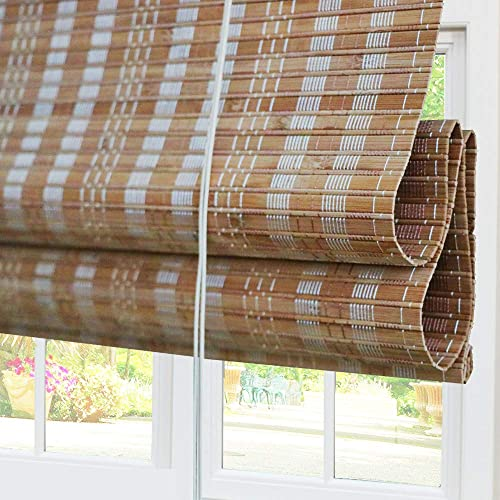 Bamboo Roman Window Shades Blinds, 63W x 72H Inches, Light Filtering UV Protection Roll Up Roller Shades with Valance for Windows, Kitchen, Doors, Porch, Color 11