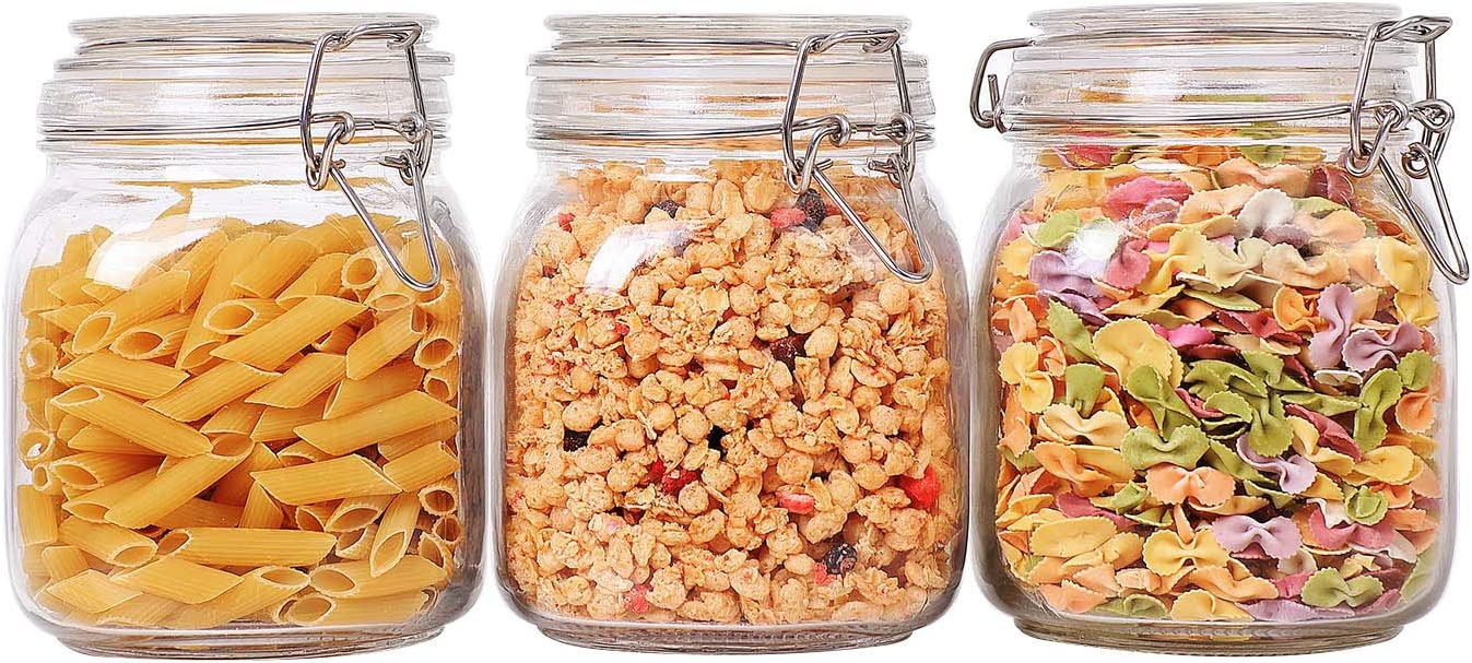 ComSaf Airtight Glass Canister Set of 3 with Lids 34oz Food Storage Jar Square - Storage Container with Clear Preserving Seal Wire Clip Fastening for Kitchen Canning Cereal,Pasta,Sugar,Beans,Spice